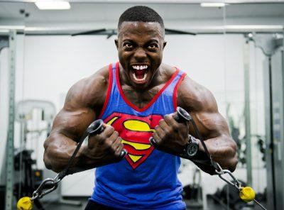Bodybuilder Weight Training Stress
