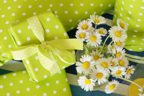 Green Polka Dot Wrapped Gifts