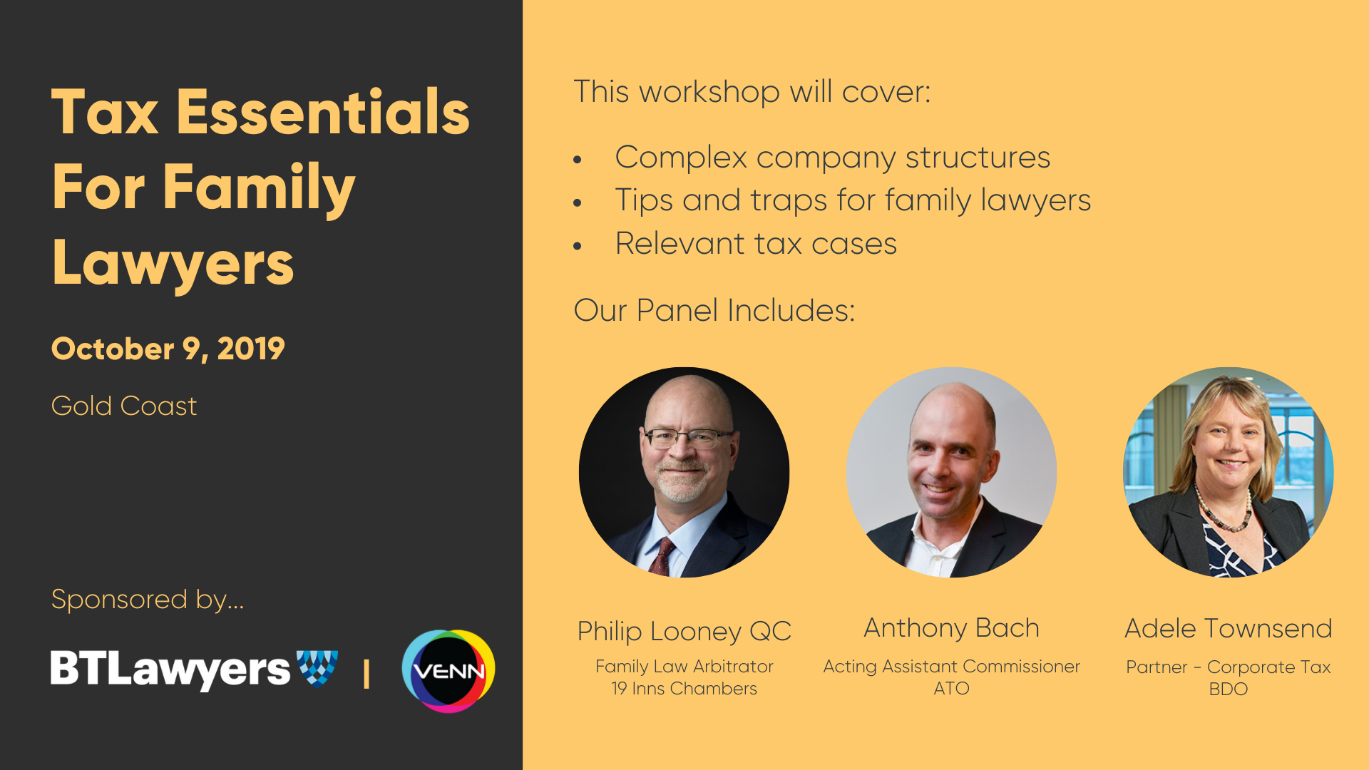 Tax Essentials for Family Lawyers (Gold Coast)